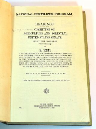 National fertilizer program : hearings before the Committee on Agriculture and Forestry, United...