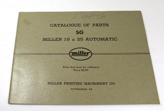 Catalogue of Parts SG, Miller 19 x 25 Automatic