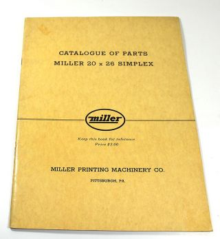 Catalogue of Parts: Miller 20 x 26 Simplex