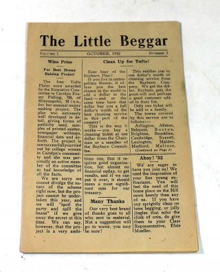The Little Beggar, Volume 1, Number 3. October, 1932 [Tufts University Newsletter