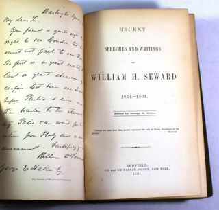 Recent Speeches and writings of William H. Seward, 1854-1861